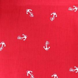Tissu Jersey Ancre et chaîne fond rouge x 10cm