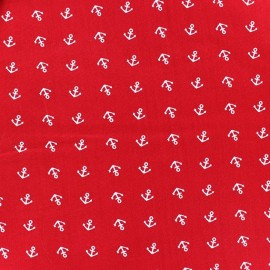 Little anchors Jersey Fabric - Red x 10cm