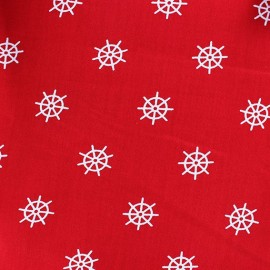Tissu Jersey petit gouvernail fond rouge x 10cm