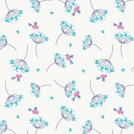 Tissu Wildflower Birds Blue x 10cm