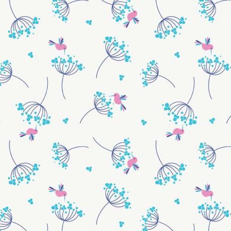 Fabric Wildflower Birds Blue x 10cm