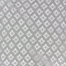 ♥ Coupon 80cm X 140 cm ♥  Scholl Openwork Cotton Fabric - Mouse grey