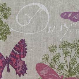 Butterfly coated fabric - linen x 30cm