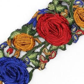 Guipure India Roses velours Rose / Turquoise x 50cm