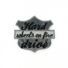 Wheels on fire coat-of-arms iron-on applique - grey
