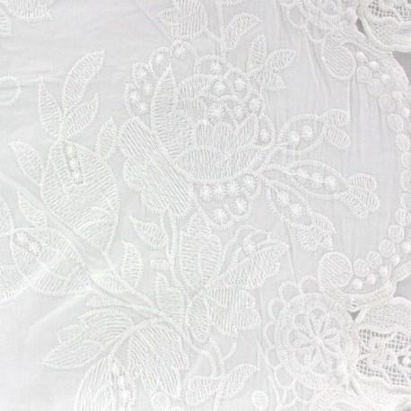 Kultan Openwork Cotton Fabric - White x 10cm