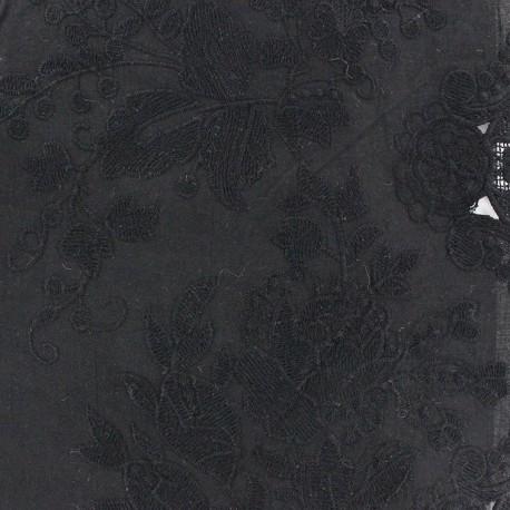 Kultan Openwork Cotton Fabric - Black x 10cm