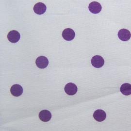 Tissu pois violet sur fond blanc x 10cm