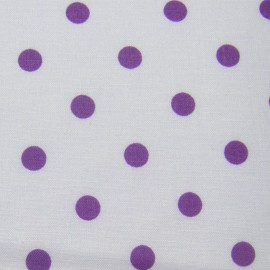 Tissu pois mauve sur fond blanc x 10cm