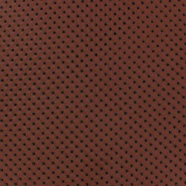 Flocked Dots Muslin Fabric - Rust x 50cm
