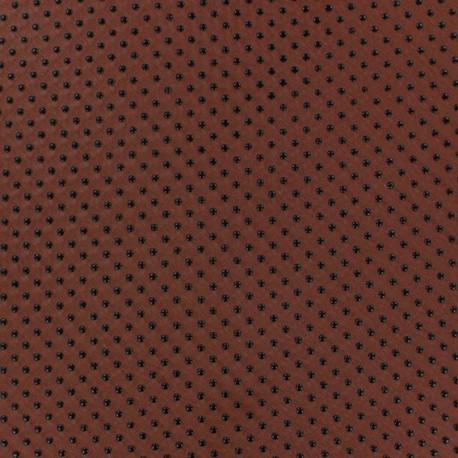 Flocked Dots Muslin Fabric - Rust x 50cm