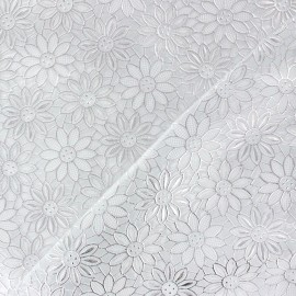 ♥ Only one piece 200cm X 140cm ♥ Flower Vinyl lace tablecloth fabric - silver