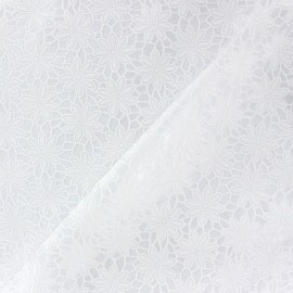 Flower Vinyl lace tablecloth fabric - white x 10cm