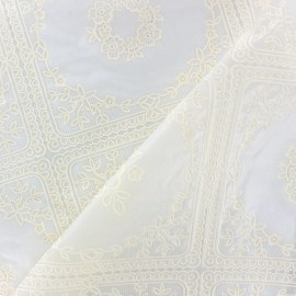 Flower Vinyl lace tablecloth fabric - cream x 14cm
