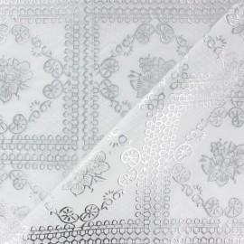 ♥ Coupon 300 cm X 39 cm ♥ Cristal Dentelle Fleurs et ornements argent