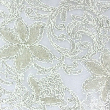 Laelle Embroidered with Sequin Lace Fabric - Ecru x 10cm