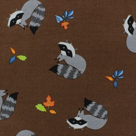 Forest day raton laveur Cotton Fabric - Brown x 10cm