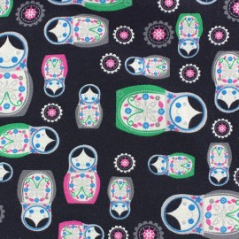 Babouchka jersey fabric - anthracite background x 10cm