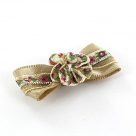 Mini bow-tie with flower & mini ribbon applique design - beige
