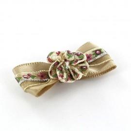Mini bow-tie with flower & mini ribbon applique design - beige