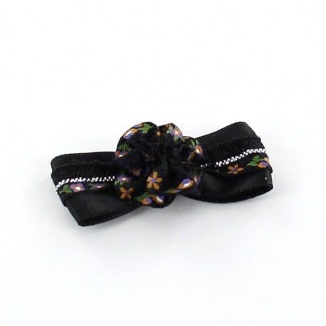Mini bow-tie with flower & mini ribbon applique design - black
