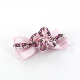 Mini bow-tie with flower & mini ribbon applique design - pink