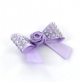 Motif Mini noeud à fleur & mini strass Violet