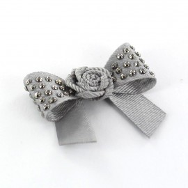 Motif Mini noeud à fleur & mini strass Gris