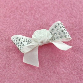 Motif Mini noeud à fleur & mini strass Blanc