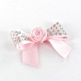 Motif Mini noeud à fleur & mini strass Rose