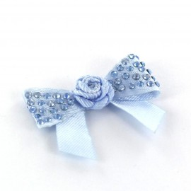 Mini bow-tie with flower & mini rhinestones applique design - sky blue