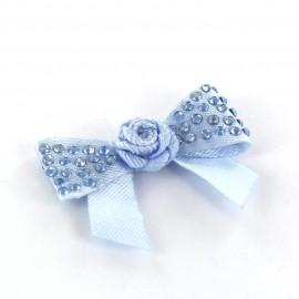 Motif Mini noeud à fleur & mini strass Bleu
