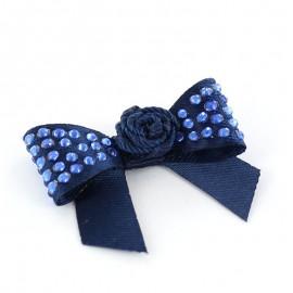 Motif Mini noeud à fleur & mini strass Marine