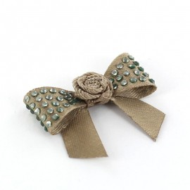 Mini bow-tie with flower & mini rhinestones applique design - brown