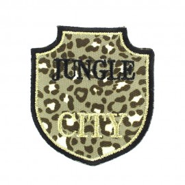 Jungle city iron-on applique - golden/black