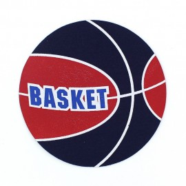 Basketball iron-on applique - red/blue