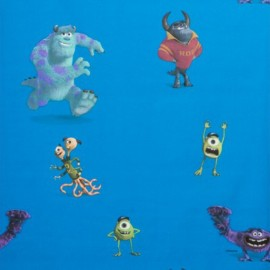 Cotton Fabric Disney Monsters and Cie - Blue x 64cm