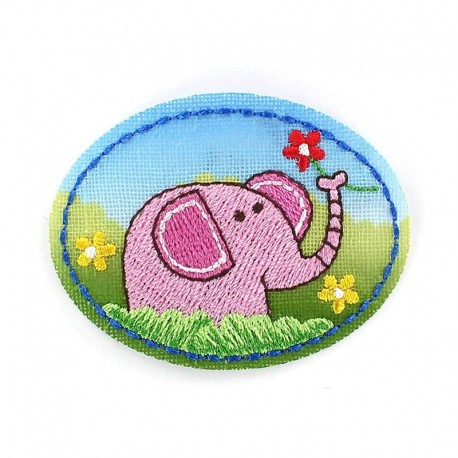 Childish Jungle animals, elephant iron-on applique - pink