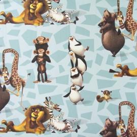 Tissu coton Disney Madagascar Alex bleu x 64cm