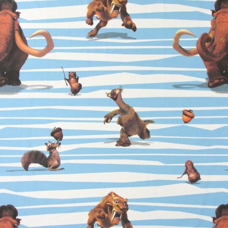 Cotton Fabric Ice Age Manny - Blue x 64cm
