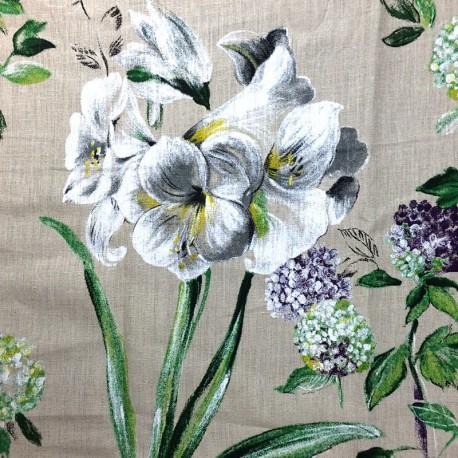 Linen Fabric Grande Lys - beige background