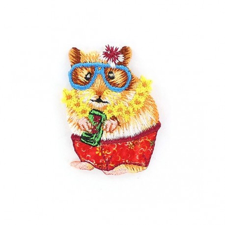 Hamster on holidays iron-on applique - multicolored