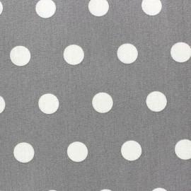 Tissu enduit coton pois blancs fond gris x 10cm