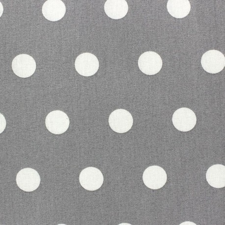 Coated Cotton Fabric - White dots on grey background x 10cm