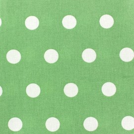 ♥ Coupon 50 cm X 150 cm ♥ Coated Cotton Fabric - White dots on almond background
