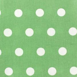 ♥ Coupon 50 cm X 150 cm ♥ Tissu enduit coton pois blancs sur fond amande