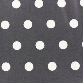 Tissu enduit coton pois blancs sur fond anthracite x 10cm