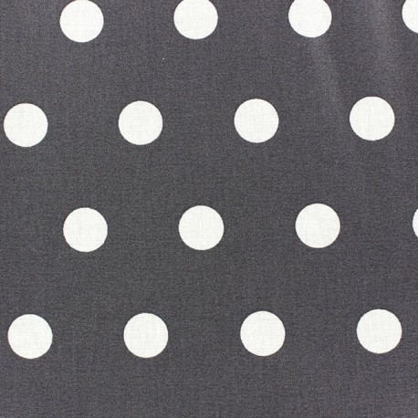 Coated Cotton Fabric - White dots on anthracite background x 10cm