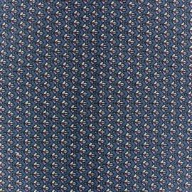 Tissu popeline stretch Small Leaf fond Gris Bleu x 10cm