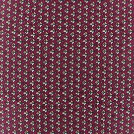 Small Leaf Stretch Poplin Fabric - Dark Red x 10cm